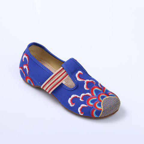 Chic Striped Pattern Embroidery Flat Shoes - 37 ROYAL Mobile