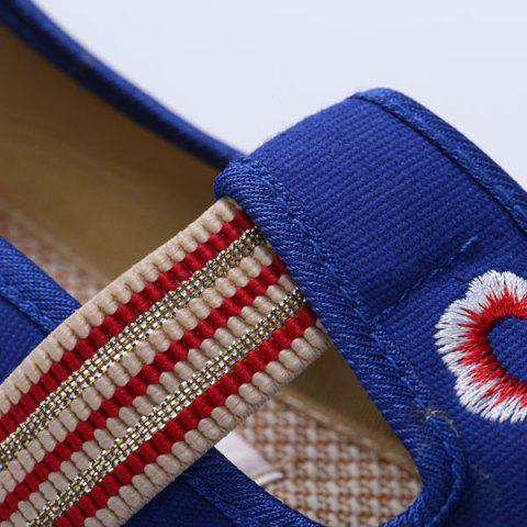 Buy Striped Pattern Embroidery Flat Shoes - 37 ROYAL Mobile