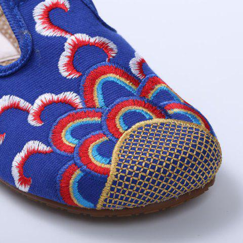 Trendy Striped Pattern Embroidery Flat Shoes - 37 ROYAL Mobile