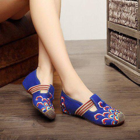Best Striped Pattern Embroidery Flat Shoes - 37 ROYAL Mobile