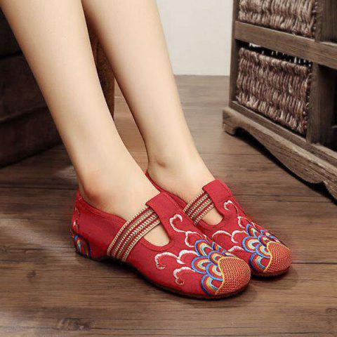 Trendy Striped Pattern Embroidery Flat Shoes - 39 RED Mobile