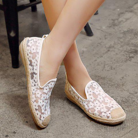 Hot Mesh Color Block Flat Shoes - 39 WHITE Mobile
