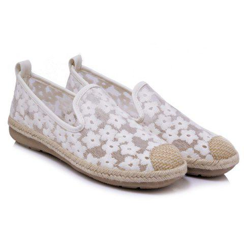 Chic Mesh Color Block Flat Shoes - 39 WHITE Mobile