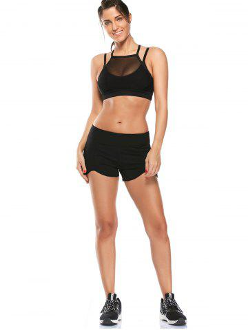 Outfit Elastic Waist Asymmetric Mini Athletic Running Shorts - M BLACK Mobile