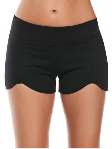 Hot Elastic Waist Asymmetric Mini Athletic Running Shorts BLACK M