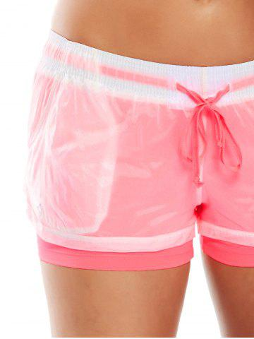 Shop Layer Sports Drawstring Running Shorts - S WATERMELON RED Mobile