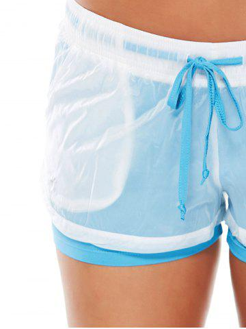 Affordable Layer Sports Drawstring Running Shorts - L AZURE Mobile