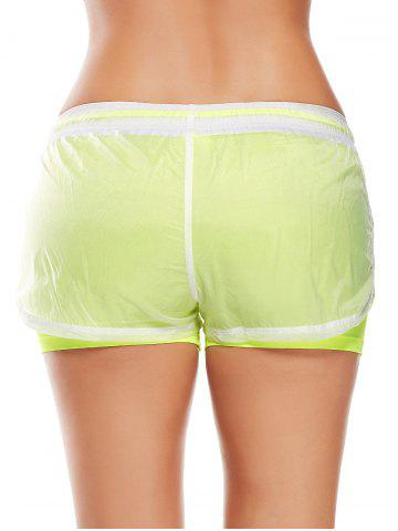 Discount Layer Sports Drawstring Running Shorts - L FLUORESCENT YELLOW Mobile