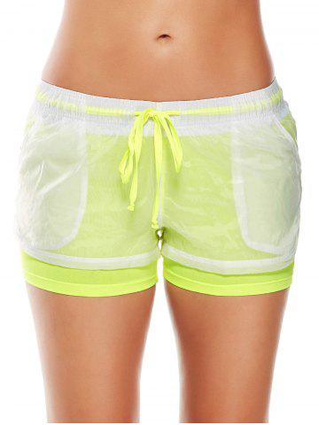 Fashion Layer Sports Drawstring Running Shorts FLUORESCENT YELLOW M