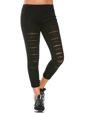 Sports Distressed Leggings With Mesh Fishnet Panel