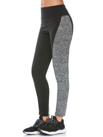 Two Tone High Waisted Workout Leggings - Black - L