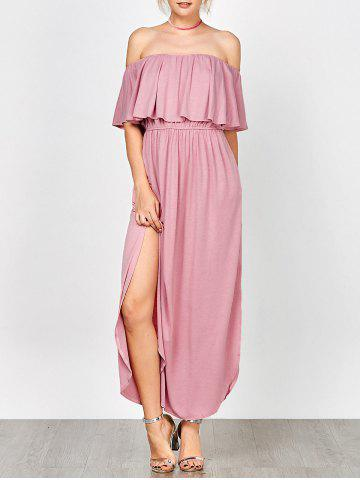 Unique Off Shoulder Long Flounce Slit Formal Dress PINK XL