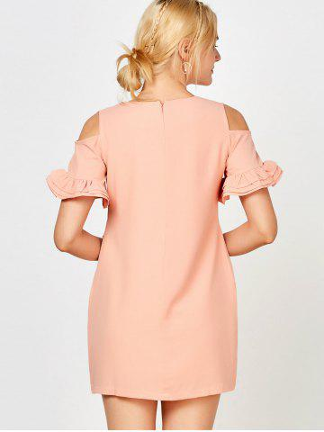Trendy Ruffle Cold Shoulder Mini Casual Dress - M PINK Mobile