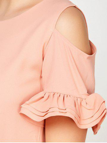 Online Ruffle Cold Shoulder Mini Casual Dress - XL PINK Mobile