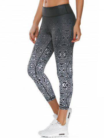 Colorful Pattern Capri Work Out Leggings - White - S