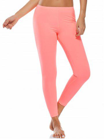 High Waist Ankle Length Compression Leggings - Fluorescent Pink - S