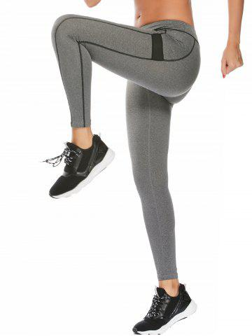 High Waisted Contrast Ankle Fitness Leggings - Gray - L