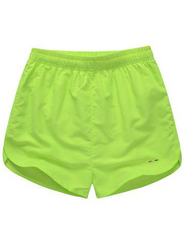 Embroidered Mesh Lining Drawstring Board Shorts - Fluorescent Yellow - M