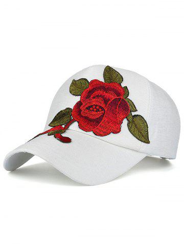 Chic Showy Flower Embroidered Baseball Hat WHITE