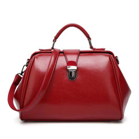 Push Lock Faux Leather Handbag Rouge