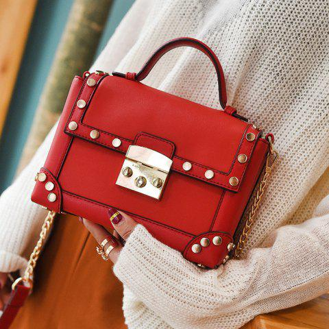 Top Handle Stud Chain Handbag - Red