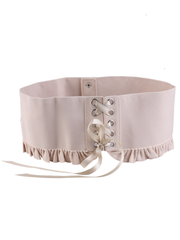 Affordable Pleated Lace Up Elastic Metal Circles Corset Belt - KHAKI  Mobile