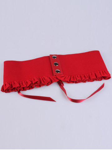 Unique Pleated Lace Up Elastic Metal Circles Corset Belt - BRIGHT RED  Mobile