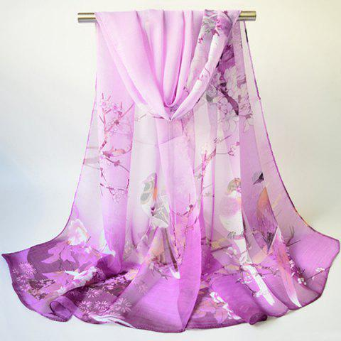Chic Chinoiserie Flowering Branch Bird Printing Shawl Scarf - PURPLE  Mobile