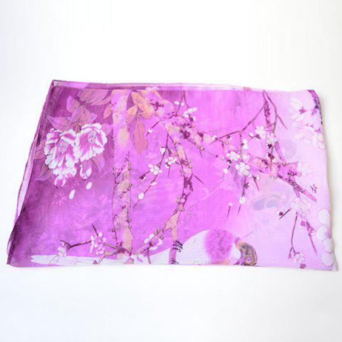 Discount Chinoiserie Flowering Branch Bird Printing Shawl Scarf - PURPLE  Mobile