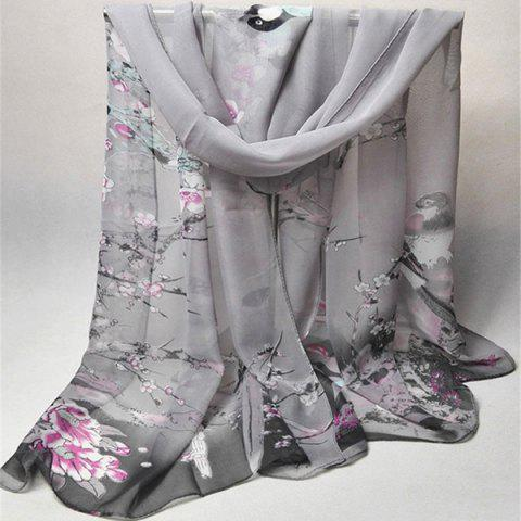 Affordable Chinoiserie Flowering Branch Bird Printing Shawl Scarf - GRAY  Mobile