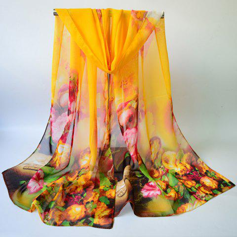 Chiffon Multicolor Blossom Printing Lightsome Gossamer Scarf - Yellow - 2xl