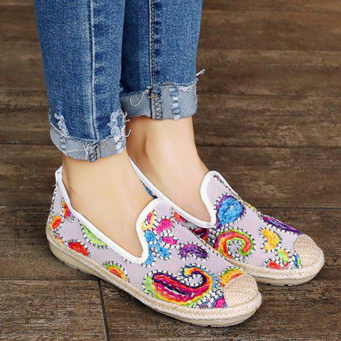 Discount Mesh Flower Pattern Flat Shoes - 39 WHITE Mobile