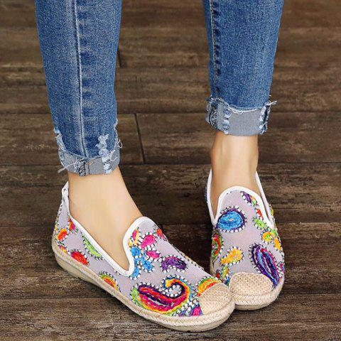 Chic Mesh Flower Pattern Flat Shoes - 39 WHITE Mobile