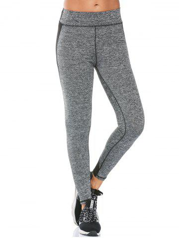 High Waisted Two Tone Fitness Leggings - Gray - L