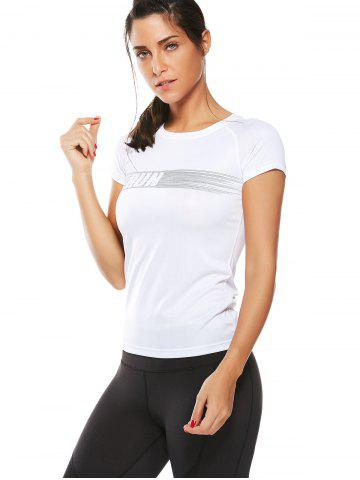 Online Graphic Quick Dry Running Gym T-Shirt - XL WHITE Mobile