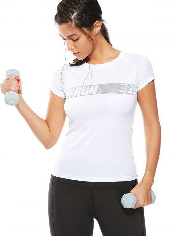 Cheap Graphic Quick Dry Running Gym T-Shirt - XL WHITE Mobile