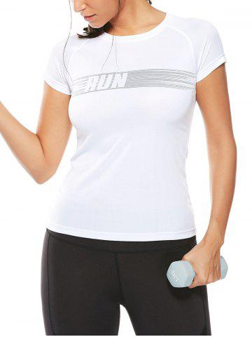 Store Graphic Quick Dry Running Gym T-Shirt WHITE XL