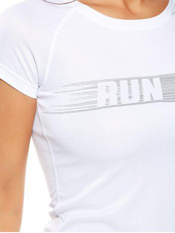 Outfits Graphic Quick Dry Running Gym T-Shirt - XL WHITE Mobile