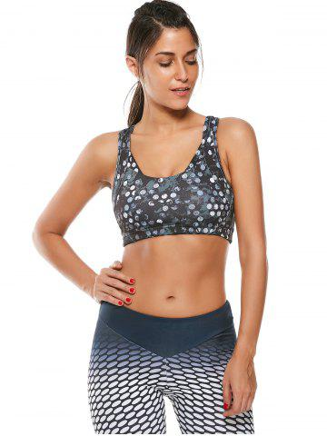 Hot Colorful Printed Padded Racerback Sports Cutout Bra - S JET BLACK Mobile