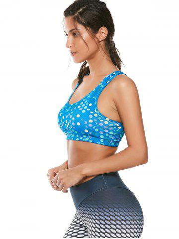 Outfits Colorful Printed Padded Racerback Sports Cutout Bra - L AZURE Mobile