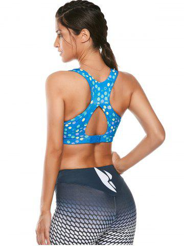 Shop Colorful Printed Padded Racerback Sports Cutout Bra - S AZURE Mobile