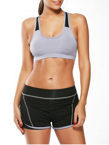 Strappy Sports Padded Bra et Layer Running Shorts Gris L