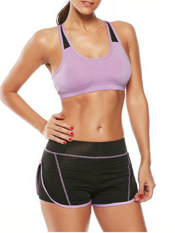 Fancy Strappy Sports Padded Bra and Layer Running Shorts - L PURPLE Mobile