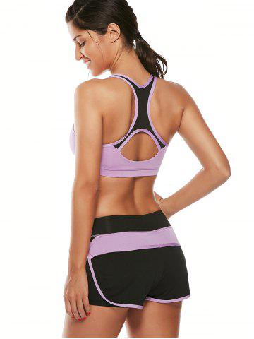 Sale Strappy Sports Padded Bra and Layer Running Shorts - L PURPLE Mobile