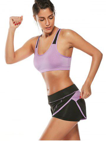 Cheap Strappy Sports Padded Bra and Layer Running Shorts - L PURPLE Mobile