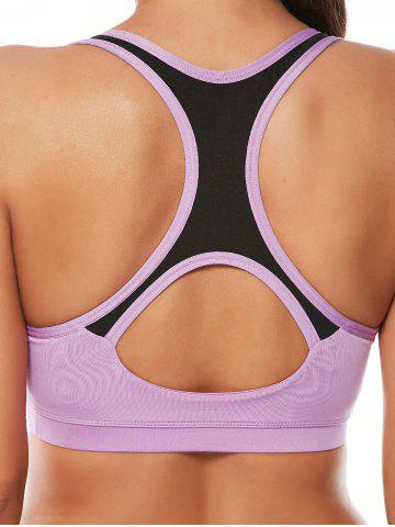 Latest Strappy Sports Padded Bra and Layer Running Shorts - L PURPLE Mobile