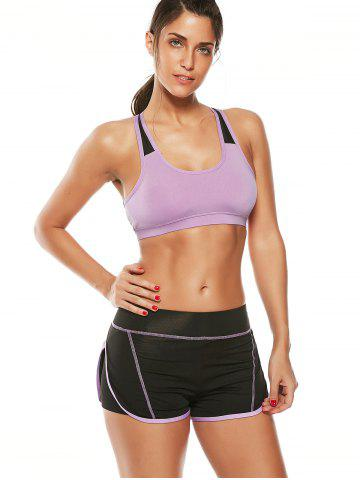 Fashion Strappy Sports Padded Bra and Layer Running Shorts - L PURPLE Mobile
