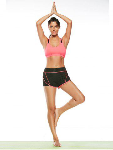 Unique Strappy Sports Padded Bra and Layer Running Shorts - L WATERMELON RED Mobile