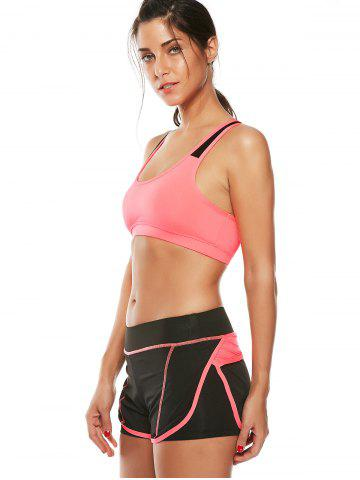 Latest Strappy Sports Padded Bra and Layer Running Shorts - L WATERMELON RED Mobile