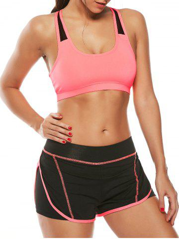 Sale Strappy Sports Padded Bra and Layer Running Shorts WATERMELON RED L